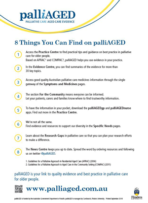 Image of the 8 things you can find on palliAGED fact sheet