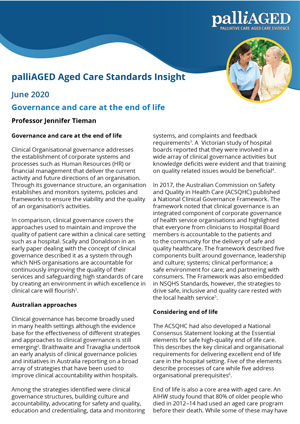 palliAGED Aged Care Standards Insight - May 2020
